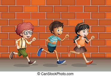 壁, 動くこと, 子供