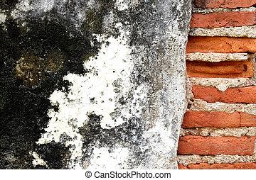 壁, 古い, れんが, グランジ, 背景