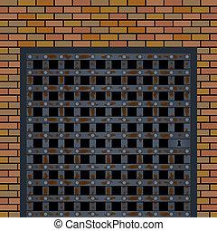 壁, 古い, ドア, 刑務所