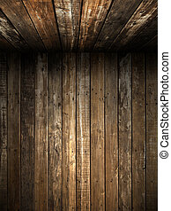 壁, 古い, 天井, 木, グランジ