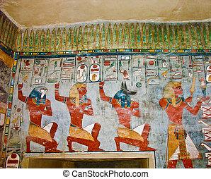 壁, 古代, 絵, エジプト人