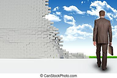 壁, 台無しにされる, によって, 行く, ビジネスマン, れんが