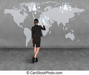 壁, 地図, ドロー, 女性ビジネス