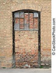 壁, 型, れんが, ドア, 封をされた