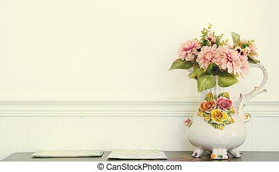 壁, 型, ポット, 花, 白
