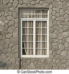 壁, 型, 石, 窓, 背景