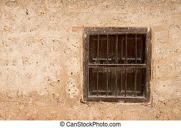 壁, 型, 窓, 古い, 木製である