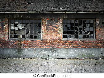 壁, 壊される, れんが, 窓