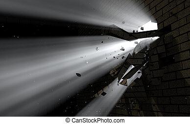 壁, 壊れ目, ライト