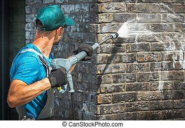 壁, 家, れんが, 洗浄