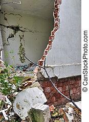 壁, 家, 台無しにされる, 壊される