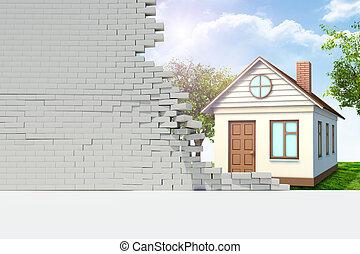壁, 家, 壊される