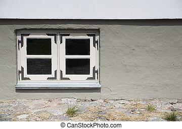 壁, 家, 窓, 満たされた, 石