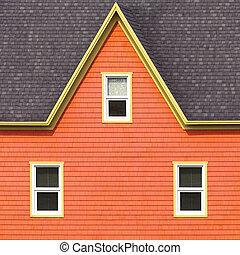 壁, 屋根, 灰色, オレンジ, 窓, 黄色, フレーム