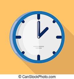 壁, 平ら, 時計, デザイン, アイコン