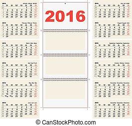 壁, 年4回, カレンダー, 2016