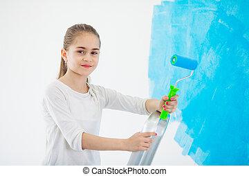 壁, 幸せ, apartment., ペンキ, 女の子, ペンキ, 修理, 青, 子供