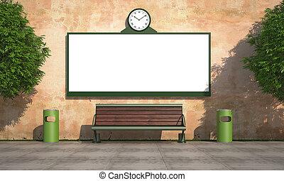 壁, 広告板, 通り, グランジ, ブランク