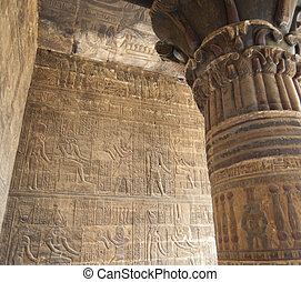 壁, 彫刻, hieroglyphic, 寺院, エジプト人