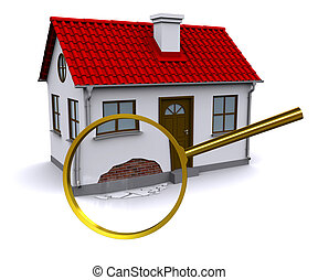 壁, 損害, ガラス, 増加, 家, 拡大する, 3d