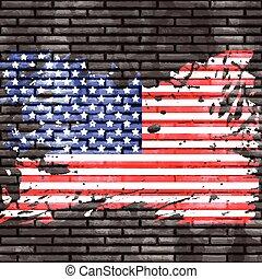 壁, 旗, れんが, 2006, アメリカ人