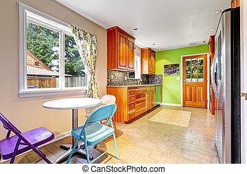 壁, 明るい, 緑, 部屋, 台所