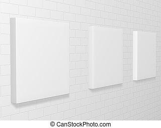 壁, 映像, れんが, ギャラリー, 3d