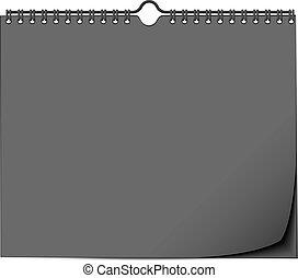 壁, 春, の上, 黒, テンプレート, カレンダー, mock
