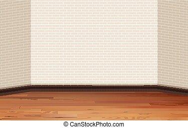 壁, 木製である, れんがの床
