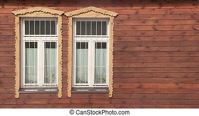 壁, 木製である, 窓, 赤い白