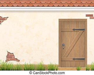 壁, 木製である, 草, 古い, ドア