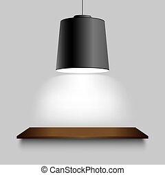 壁, 棚, 天井, 黒, ランプ