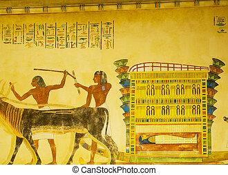壁, 概念, 絵画, エジプト人