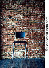 壁, 現代, 黒い背景, 椅子, れんが