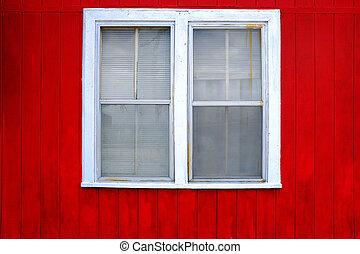 壁, 白, 窓, 赤
