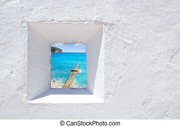 壁, 白, andratx, 地中海, 窓