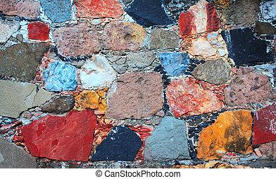 壁, 石のブロック, 手ざわり