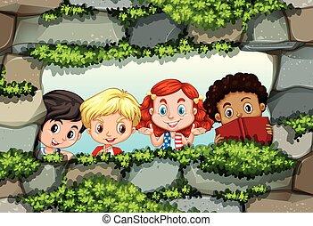 壁, 石, の後ろ, 子供