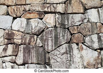 壁, 石, 古い, 手ざわり