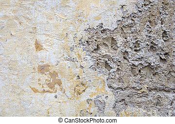 壁, 石, 古い, 黄色, 手ざわり
