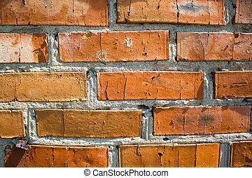 壁, 破壊された, れんが, 古い, 赤