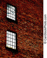 壁, 窓, れんが, 細部