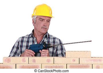 壁, 立った, 石工