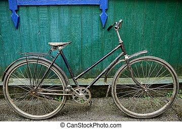 壁, 緑, 自転車, レトロ