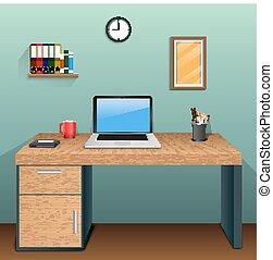壁, 緑, 部屋, 仕事場