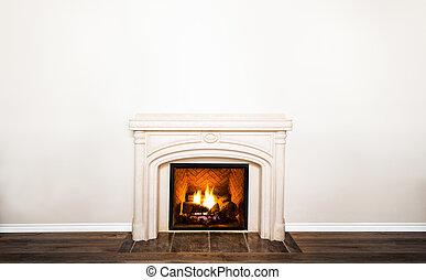 壁, 贅沢, 白, 暖炉, 大理石, 空