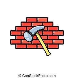 壁, 道具, ハンマー, 隔離された, アイコン
