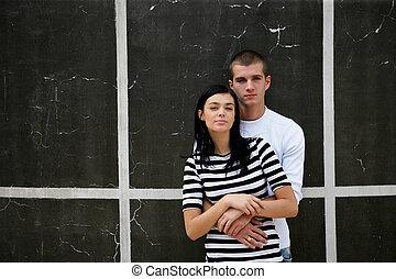 壁, 都市, 恋人, 立った, 若い