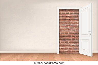 壁, 開いた, れんが, ドア, 化粧しっくい