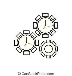 壁, 隔離された, 形, clocks, アイコン, ピニオン
